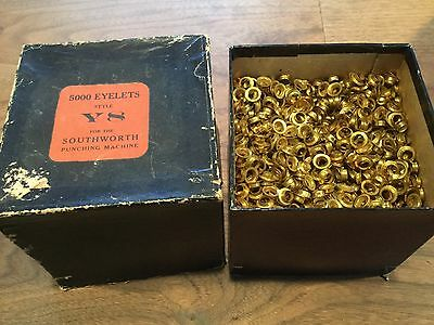 Lot 5000 gold/ brass eyelets Southworth Y 8 punching machine crafting leather