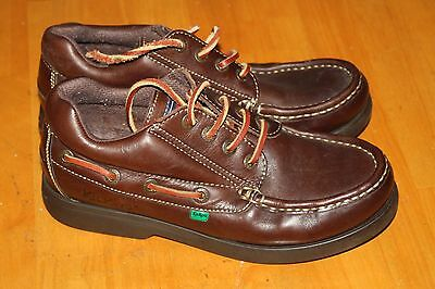 Mens Vintage Kickers Brown Leather Boat Deck Shoes Uk 8 Excellent Mid 90's