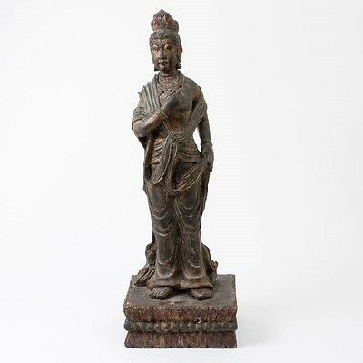 "Antique Carved Wood Guanyin East Asian Deity Goddess of Mercy Statue 34"" T"