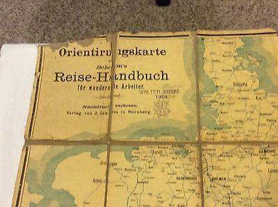 1904 Travel/Road Map Of Germany, In Fair Condition