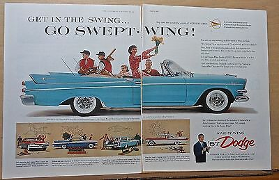 1957 two page magazine ad for Dodge - Coronet convertible, Lancer models