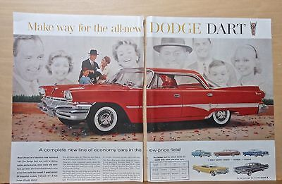 1960 two page magazine ad for Dodge - red Dart, completely new economy cars