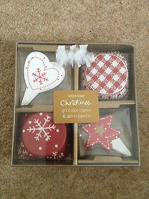 Waitrose Christmas 40 cake cases and 20 toppers