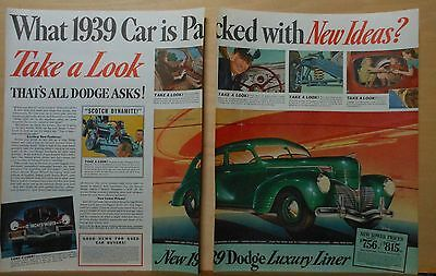 1939 two page magazine ad for Dodge - Luxury Liner Special Sedan, Pack new ideas