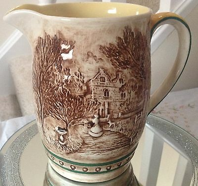 Rare Sylvac large pitcher Country House scenes
