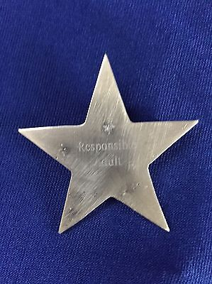 """Sterling Silver Star-Shaped Badge Pin stamped """"Responsible Adult"""""""