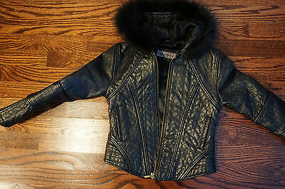 Kid's Che-Bella 100%  Genuine Leather Black Jacket with Faux Fur Hood - Size 6
