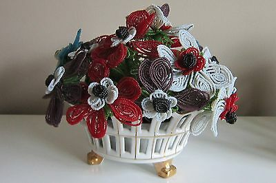 Vintage French Beaded Flower Bouquet With Vase