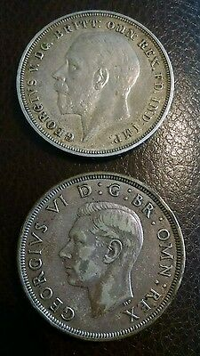 Lot of 2 Great Britain Silver Crown Coins: 1935 & 1937