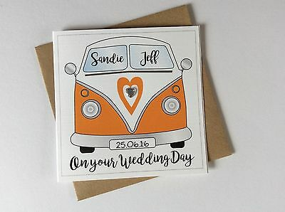 Personalised Handmade VW Camper Van Wedding Day Congratulations Card
