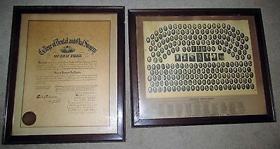 1919 Framed Class Picture & Diploma COLLEGE OF DENTAL & ORAL SURGERY of New York