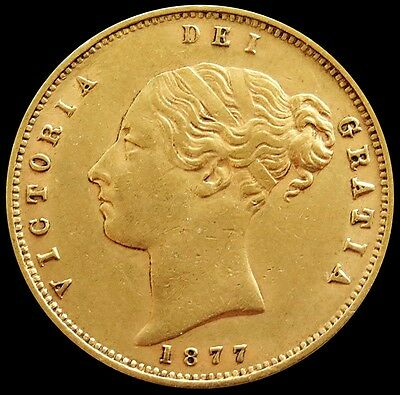 1877 Gold Great Britain Shield Reverse 1/2 Sovereign Coin About Uncirculated