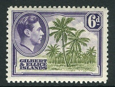GILBERT & ELLICE ISLANDS;  1938 early GVI issue Mint hinged 6d. value