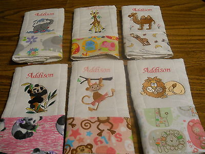 Personalized Embroidered Baby Burp Cloths - Set of 4 Your choice Design- Girl