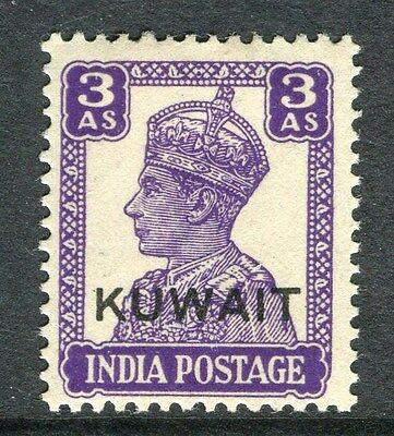 KUWAIT;  1945 early GVI issue fine Mint hinged 3a. value