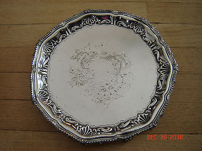 VINTAGE Silver Plate FOOTED Serving Tray with Symbols and numbers 4753