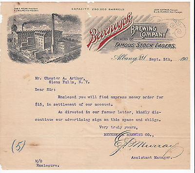 1900 Beverwyck Brewing, Lagers Albany NY Letterhead, Letter Illustrated