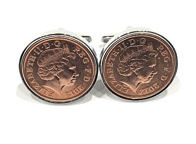 2012 6th Candy wedding anniversary cufflinks - Copper 1p coins from 2012
