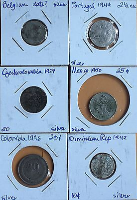Lot Of 6 Medium Silver Coins Belgium ���� Czechoslovakia Colombia ���� Portugal