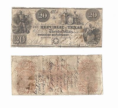 Republic of Texas $20 1840 rare banknote. Cut cancelled.