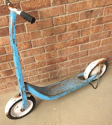 Vintage Sears Blue Metal Kids 2 wheel Push Scooter with Kick Stand