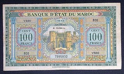 Morocco 100 Francs Banknote - Maroc - Issued 1/8/1943 - Pick 27a - VFine