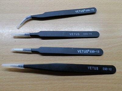 Set of 4 Stainless Anti-static anti-magnetic Tweezers ESD Tools