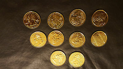 24 KT Gold Plated Quarters Mixed Sets 10 Pack Coins