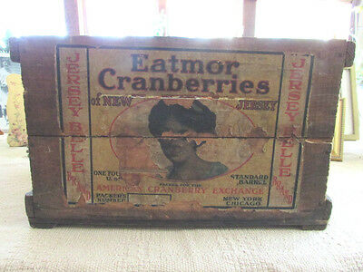 Antique ,1920's Eatmor Cranberries Box With Shipping Label