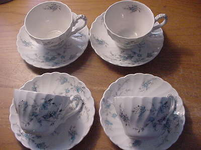 """Set of 4 Myott's """"Forget Me Not"""" Cups and Saucers, Made in England"""
