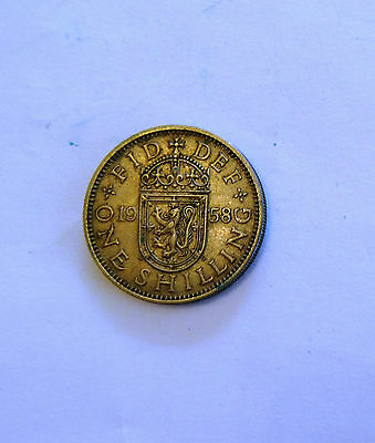 Queen Elizabeth One Shilling Coin 1958