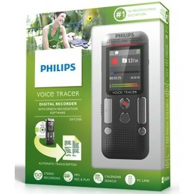 Philips DVT2700 4GB Voice Tracer digital recorder Mic stereo/speech recognition