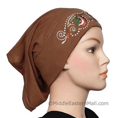 2016 Hot Cotton Muslim Inner Hijab Caps Islamic Underscarf Hats #19 Gingerbread