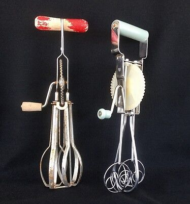 2 Vintage Egg Beaters Hand Mixers  1 is Unique Bubble type Stainless Beater