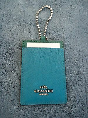 NWT Coach Crossgrain Leather ID Holder Black & Turquoise - F66091