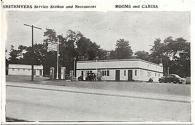Smithmyers Service Station and Restaurant in Cresson PA Postcard Gas Pumps