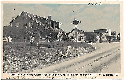 Geibel's Home and Cabins for Tourists East of Butler PA Postcard Gas Pumps