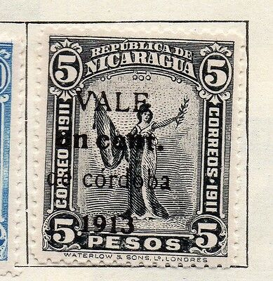 Nicaragua 1913 Early Issue Fine Mint Hinged 1c. Optd Surcharged 122170