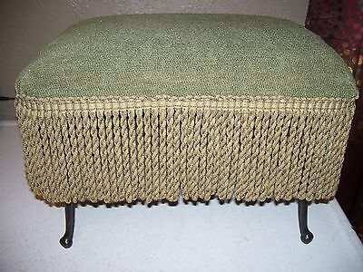 Vintage/antique Foot Stool Ottoman - Cast Iron Legs - Extra Cover