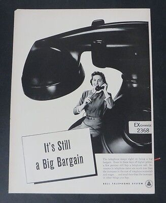 Original Print Ad 1948 BELL TELEPHONE SYSTEM Bigger Value Every Day