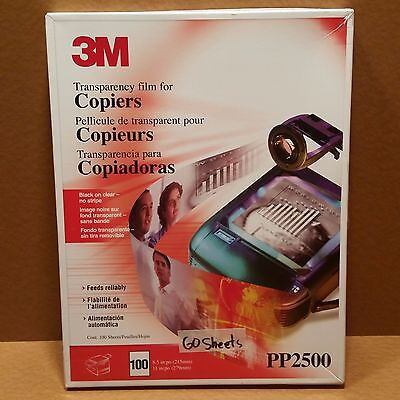 3M Transparency Film Pp2500 For Copiers Black On Clear No Stripe - 60 New Sheets