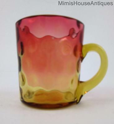 "Antique AMBERINA ""Baby Thumbprint"" PUNCH CUP mug Smooth Amber Handle"