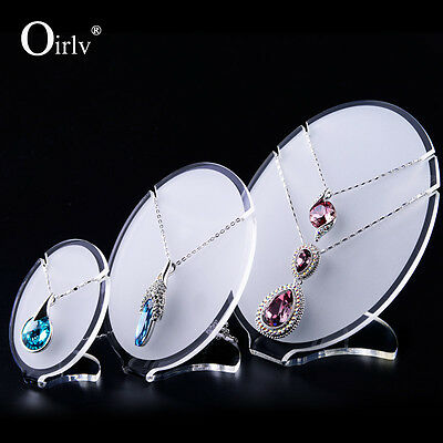 Oirlv Oval Shape Matte Acrylic Necklace Pendant Jewelry Display Stands Set