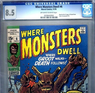 PRIMO:  WHERE MONSTERS DWELL  #6  VF+ 8.5 CGC  1st GROOT story GOTG Marvel movie