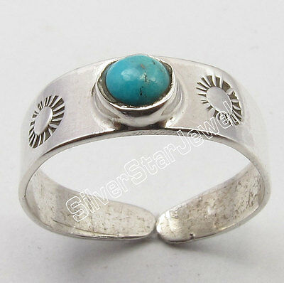 .925 Sterling Silver Exclusive TURQUOISE CUTE Adjustable HANDCRAFTED TOE RING