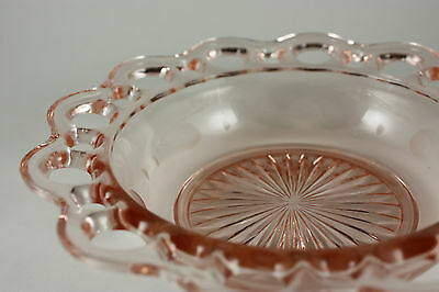 """Open Lace Old Colony Hocking Pink Depression Glass 6.5"""" Etched Scalloped Bowl"""