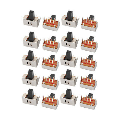 20Pcs 2 Position 6P DPDT Panel Mount Micro Slide Switch Latching Power Switch