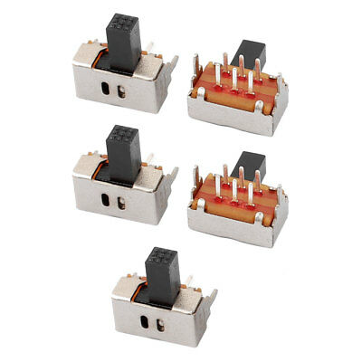 5Pcs 2 Position 6P DPDT Panel Mount Micro Slide Switch Latching Power Switch
