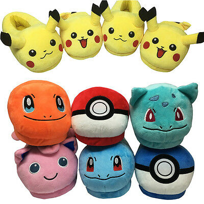 Pokemon Go Soft Plush Slippers Unisex Warm Furry Indoor Home Shoes Costume New