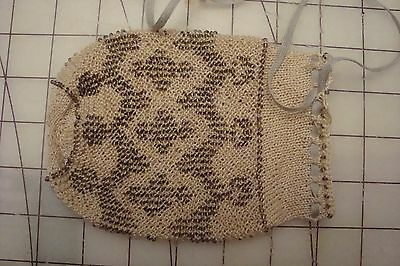 sale: repro knitted mid 19th century glass beaded purse: old look new materials